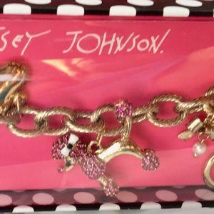 Betsey Johnson Pink Poodle Bow Pearls Bracelet